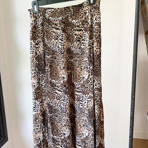 FUDA 90's 100% silk midi animal high waist skirt